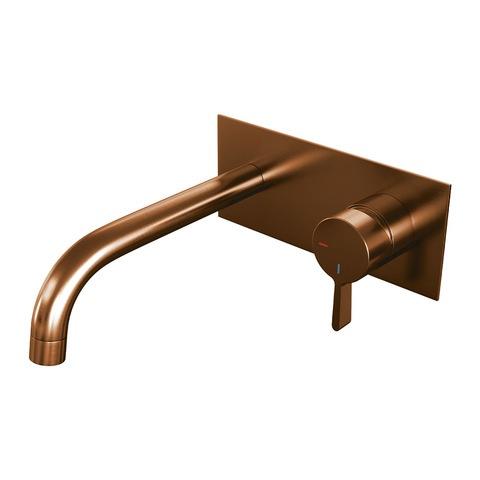 Brauer Copper Edition inbouw wastafelkraan met achterplaat - hendel 2 - geborsteld koper PVD