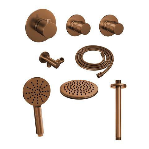 Brauer Copper Edition thermostatische inbouw doucheset - geborsteld koper PVD - hoofddouche 20cm - plafondsteun - ronde handdouche