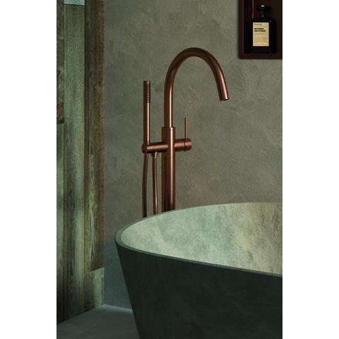 Brauer Copper Edition vrijstaande badmengkraan met staaf handdouche geborsteld koper PVD