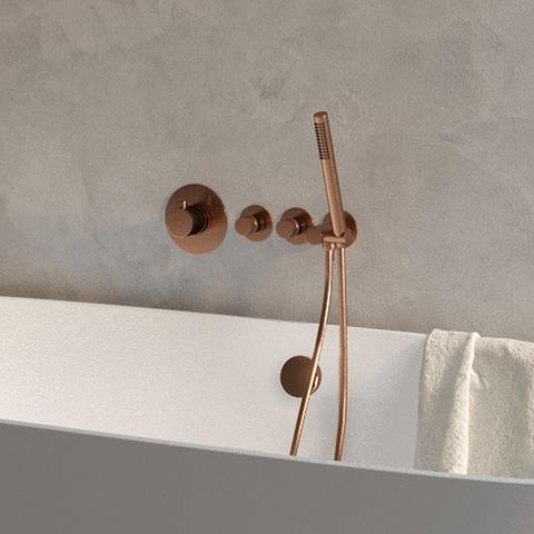 Brauer Copper Edition inbouw badthermostaat met badafvoer/vulcombinatie - staafhanddouche - geborsteld koper PVD