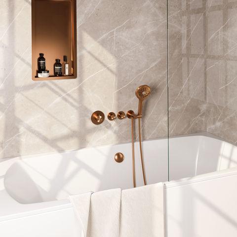 Brauer Copper Edition inbouw badthermostaat met badafvoer/vulcombinatie - ronde handdouche - geborsteld koper PVD
