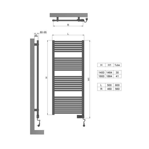 Blinq Altare elektrische handdoekradiator 180x60cm - 1000w - mat zwart