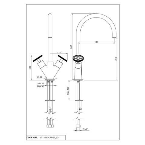 vtwonen Baden Flame 2-greeps wastafelkraan met industriele greep chrome