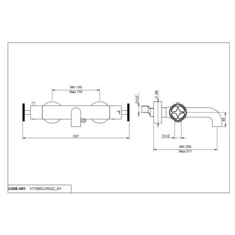 vtwonen Baden Flame badthermostaat met industriele greep black steel