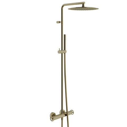 vtwonen Baden Flame showerset thermostatisch met industriele greep bronze
