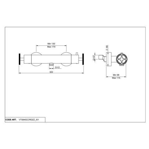 vtwonen Baden Flame douchethermostaat met industriele greep black steel