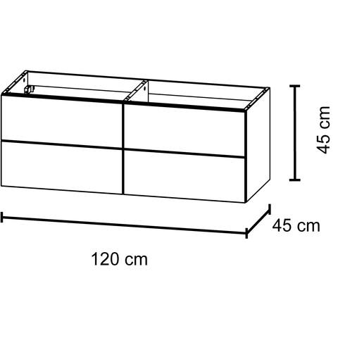 Bruynzeel Bando/ Combo Onderbouwkast 120cm | 4 laden- greeplijst - gladstone