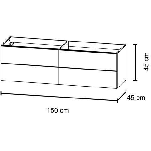 Bruynzeel Bando/ Combo Onderbouwkast 150cm | 4 laden- greeplijst - glans wit