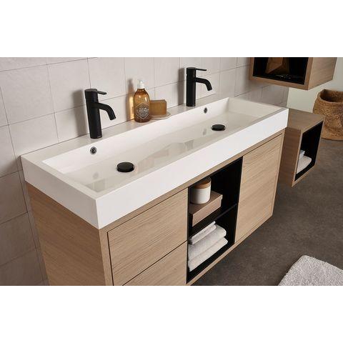 Bruynzeel Box/Combo meubelwastafel 120x45cm dubbele kom | twee kraangaten- wit