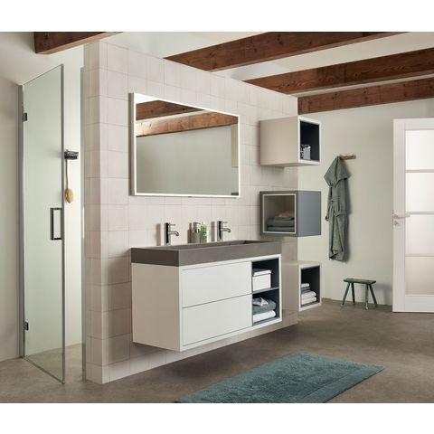 Bruynzeel Box/Combo meubelwastafel 120x45cm enkele waskom | twee kraangaten- betonlook