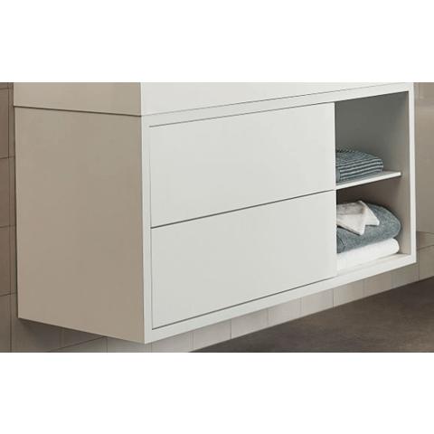 Bruynzeel Box Onderbouwkast 120cm   2 laden   openvak rechts- mat wit