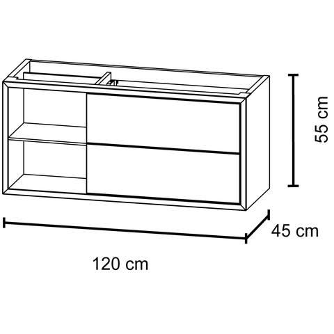 Bruynzeel Box Onderbouwkast 120cm | 2 laden | openvak links- gladstone