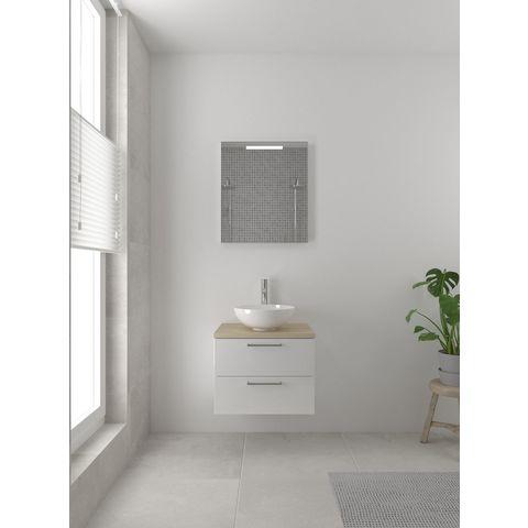 Bruynzeel Combo badmeubelset 60 cm | spiegel bovenblad natuur eiken - glans wit