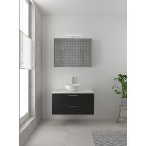 Bruynzeel Combo badmeubelset 90 cm   spiegelkast bovenblad wit marmer - zijde zwart