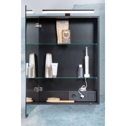 Bruynzeel Combo badmeubelset 150 cm dubbel   spiegelkast bovenblad wit marmer - zwart eiken