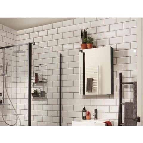 Bruynzeel Giro badmeubelset 100 cm | spiegelkast bovenbladwit marmer - zwart eiken