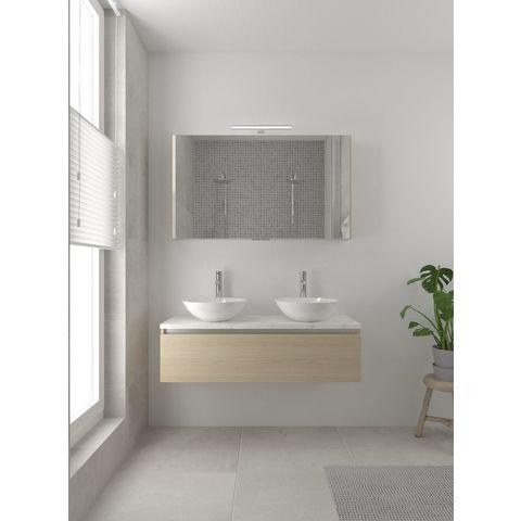 Bruynzeel Giro badmeubelset 120 cm dubbel   spiegelkast bovenblad wit marmer - natuur eiken