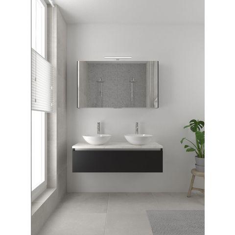 Bruynzeel Giro badmeubelset 120 cm dubbel | spiegelkast bovenblad wit marmer - zijde zwart