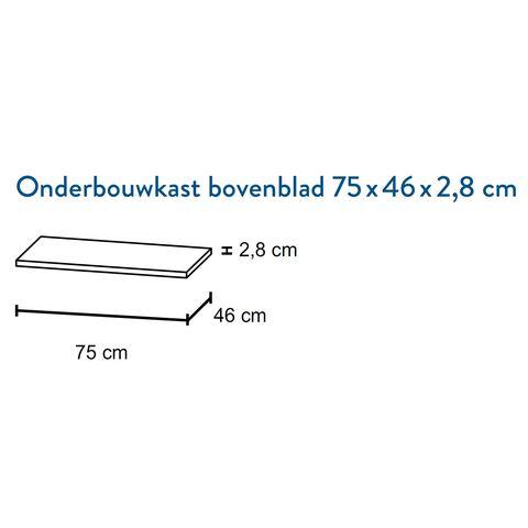 Bruynzeel Giro bovenblad 75x46cm- bardolino