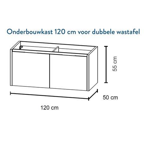 Bruynzeel Matera Onderbouwkast 120cm voor dubbele wastafel- glans wit