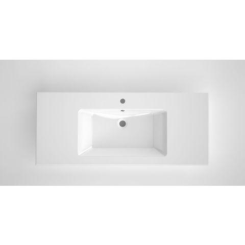 Bruynzeel Miko keramische wastafel | 121 x 51 cm enkele kom | twee kraangaten- wit