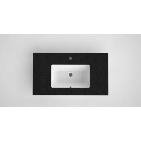 Bruynzeel Miko keramische wastafel met granieten blad   91 x 51 cm   één kraangat- zwart/wit