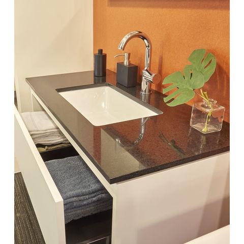 Bruynzeel Miko keramische wastafel met granieten blad | 91 x 51 cm | één kraangat- zwart/wit