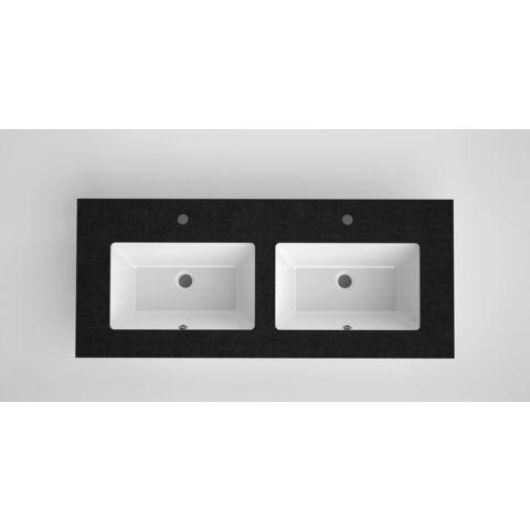 Bruynzeel Miko keramische wastafel met granieten blad | 121 x 51 cm dubbele kom | twee kraangaten- zwart/wit