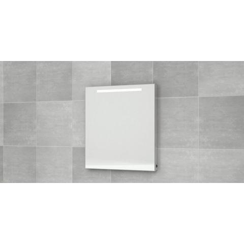 Bruynzeel spiegel met horizontale TL-verlichting en lichtschakelaar | 75 cm- aluminium