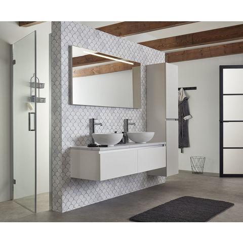 Bruynzeel spiegel met horizontale TL-verlichting en lichtschakelaar | 150 cm- aluminium