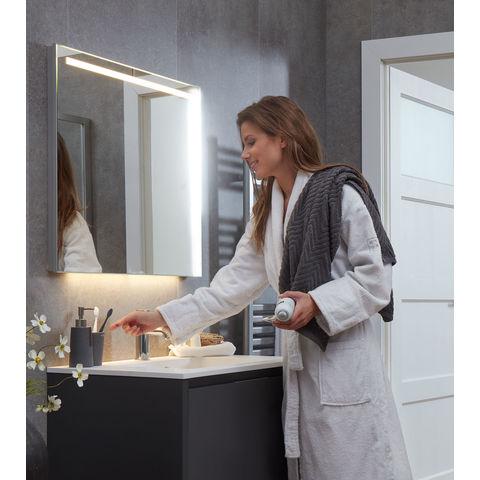 Bruynzeel spiegel met horizontale LED-verlichting, spiegelverwarming en indirecte onderverlichting | 75 cm- aluminium