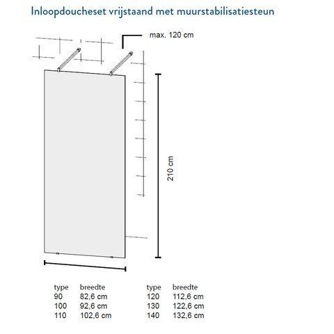 Bruynzeel Lector inloopdouche vrijstaand 100cm - muursteun - aluminium