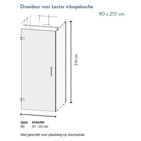 Bruynzeel Lector draaideur 91-93cm - voor i.c.m Lector inloopdouche