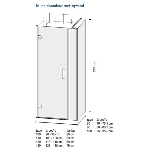 Bruynzeel Module Inline douchecabine 110x100cm 3-delig met draaideur