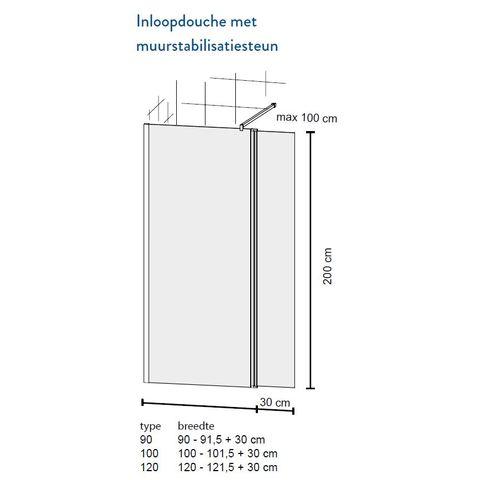 Bruynzeel Taro Inloopdouche 120cm met draaibare zijwand - chroom