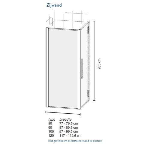 Bruynzeel Zeta zijwand 100cm - voor i.c.m. douchedeur