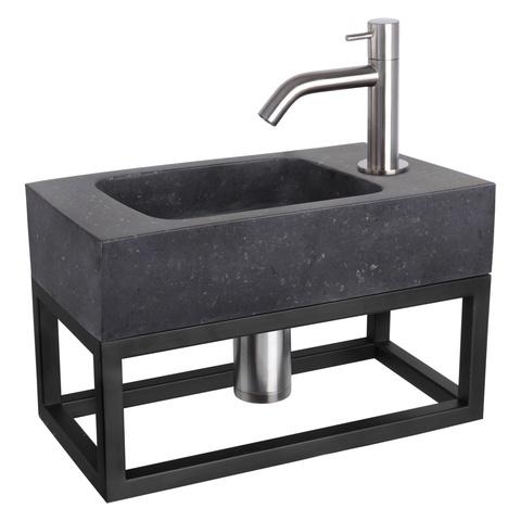 Differnz Bombai Black fonteinset met zwart frame - kraan gebogen - mat chroom