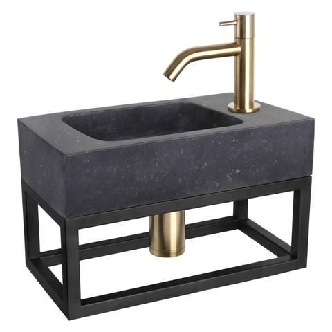 Differnz Bombai Black fonteinset met zwart frame - kraan gebogen - mat goud