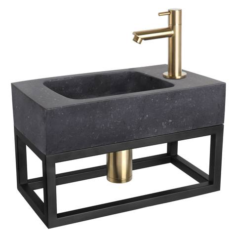Differnz Bombai Black fonteinset met zwart frame - kraan recht - mat goud