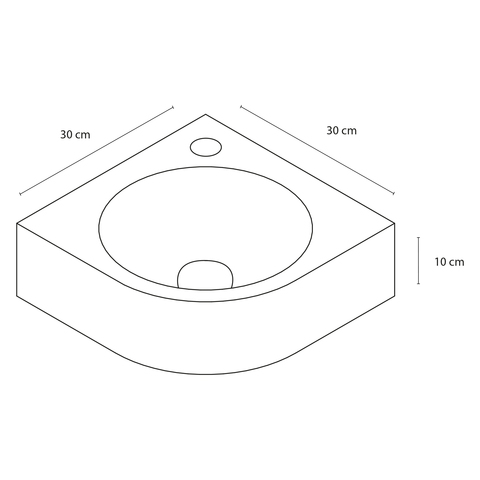 Differnz Cleo fonteinset - kraan gebogen - keramiek - mat zwart
