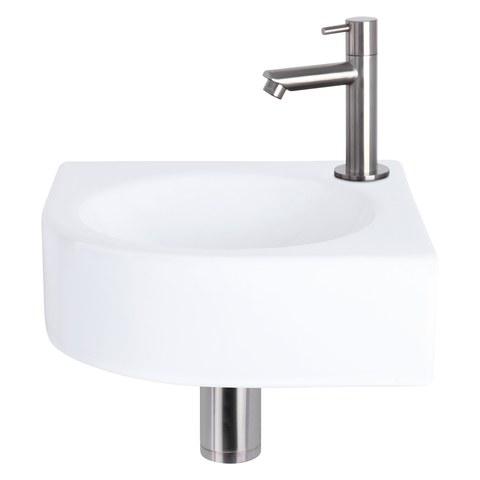 Differnz Cleo fonteinset - kraan recht - keramiek - mat chroom