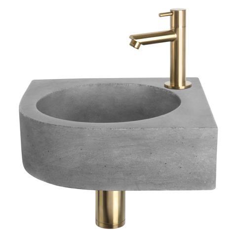 Differnz Cleo fonteinset - kraan recht - beton - mat goud