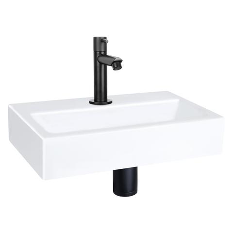 Differnz Flat fonteinset - kraan recht - keramiek - mat zwart