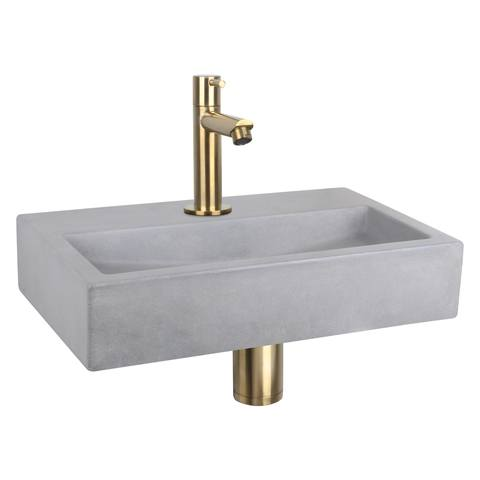 Differnz Flat fonteinset - kraan recht - beton - mat goud