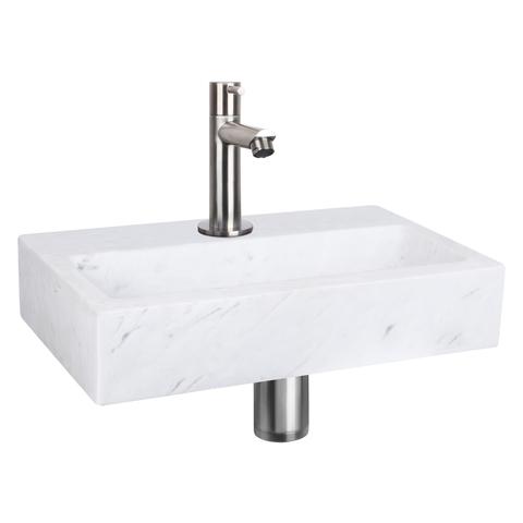 Differnz Flat fonteinset - kraan recht - marmer - mat chroom