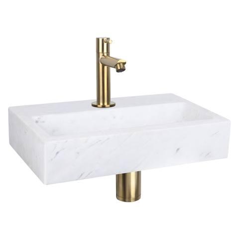 Differnz Flat fonteinset - kraan recht - marmer - mat goud