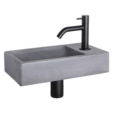 Differnz Force fonteinset - kraan gebogen - beton - mat zwart
