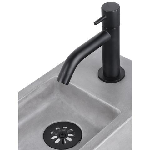 Differnz Force fonteinset met zwart frame - kraan gebogen - beton - mat zwart