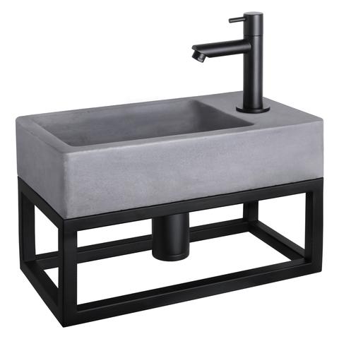 Differnz Force fonteinset met zwart frame - kraan recht - beton - mat zwart