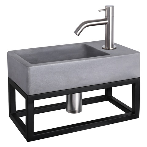 Differnz Force fonteinset met zwart frame - kraan gebogen - beton - mat chroom